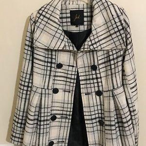 Black and White Tweed Coat